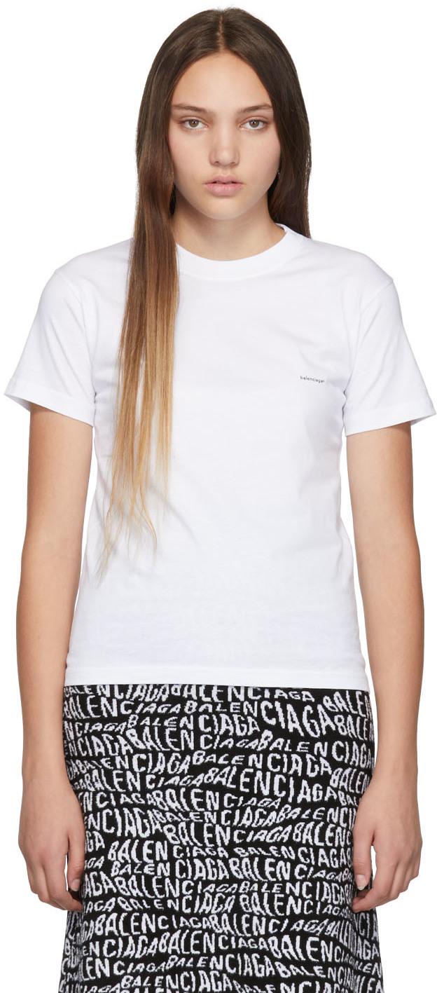 Balenciaga Shirts White Mini Logo T-Shirt