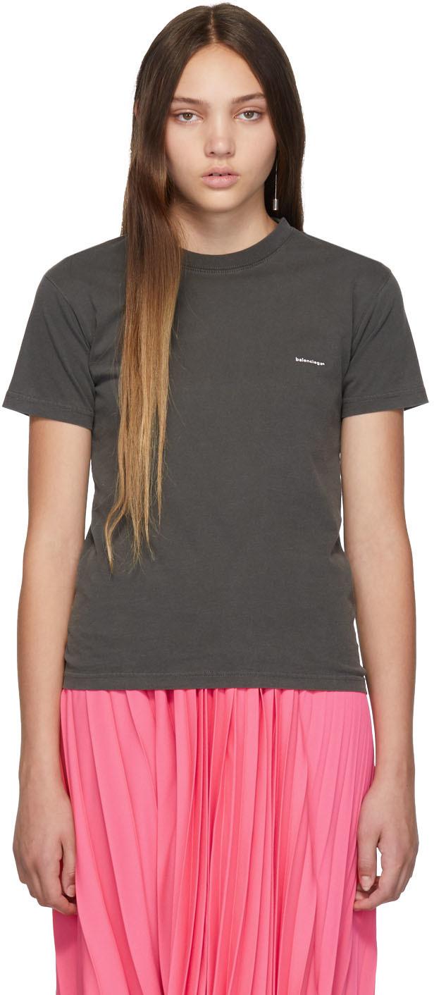 Balenciaga Shirts Black Mini Logo T-Shirt