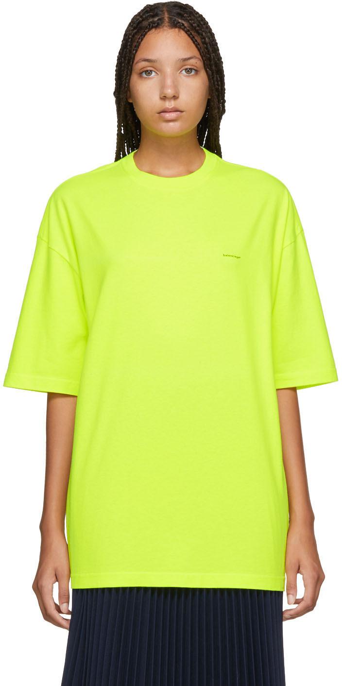 Balenciaga Shirts Yellow Oversized Logo T-Shirt