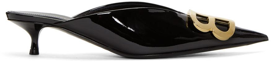 Balenciaga Shoes Black Patent BB Mules