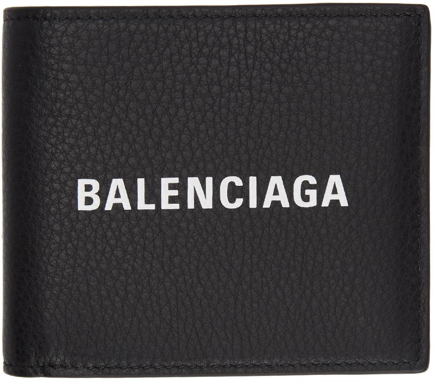 Balenciaga Wallets Black Logo Everyday Wallet