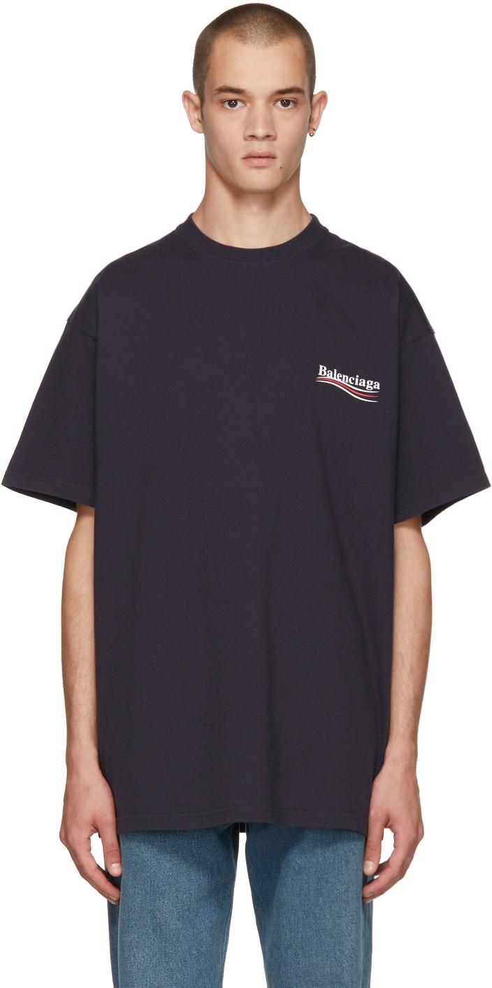 Balenciaga Shirts Navy Campaign Logo T-Shirt
