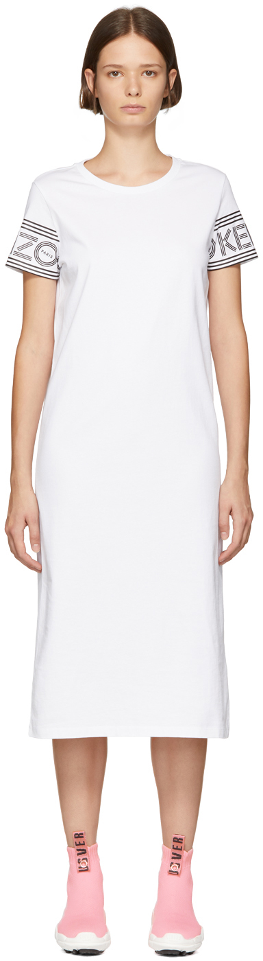 Kenzo Dresses White Logo Sport T-Shirt Dress