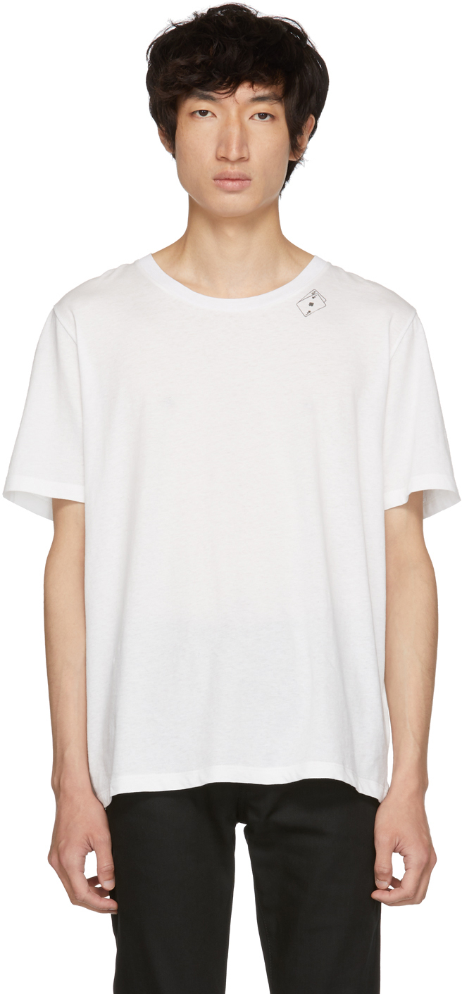 Saint Laurent Tops White Cards T-Shirt