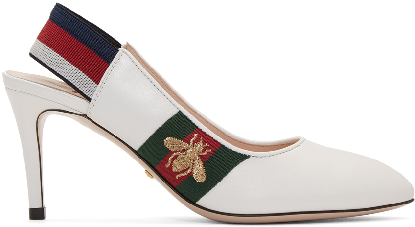 Gucci Shoes White Sylvie Elastic Heels