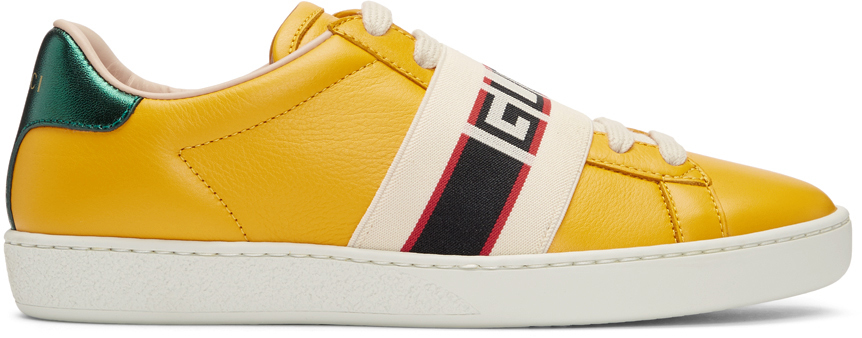 Gucci Sneakers Yellow New Ace Elastic Band Sneakers