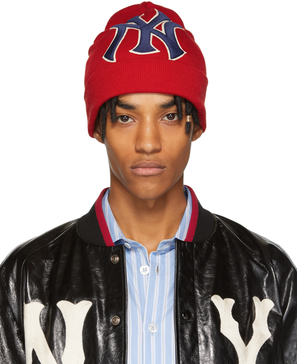 Gucci Beanies Red New York Yankees Edition Patch Beanie