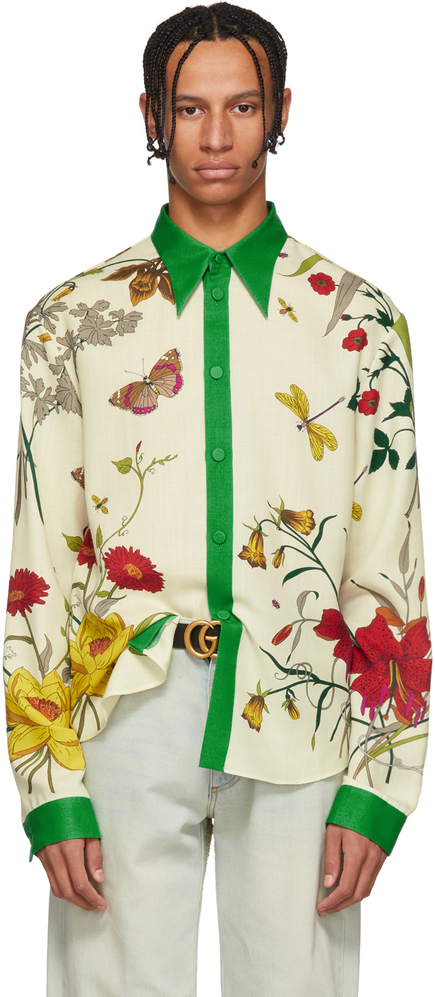 Gucci Tops Multicolor Floral Shamrock Shirt