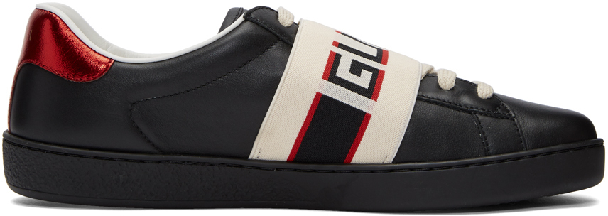 Gucci Sneakers Black New Ace Elastic Band Sneakers