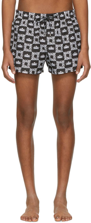 Dolce & Gabbana Beachwear Black & White Crown Swim Shorts