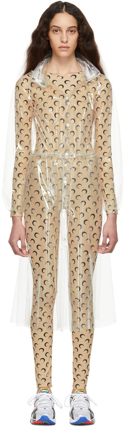 Marine Serre Coats Transparent 'Hardcore Couture' Raincoat