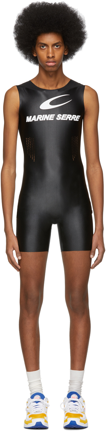Marine Serre Jumpsuits Black Cycling Catsuit
