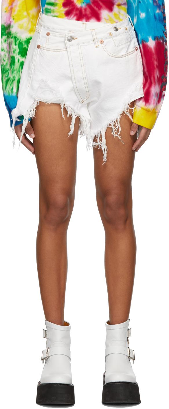 R13 Shorts White Denim Crossover Shorts