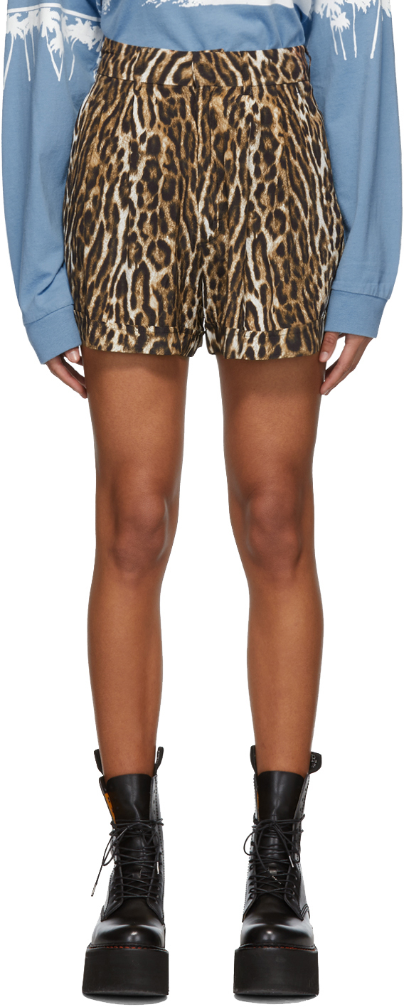 R13 Shorts Black & Brown Leopard Pleated High-Rise Shorts