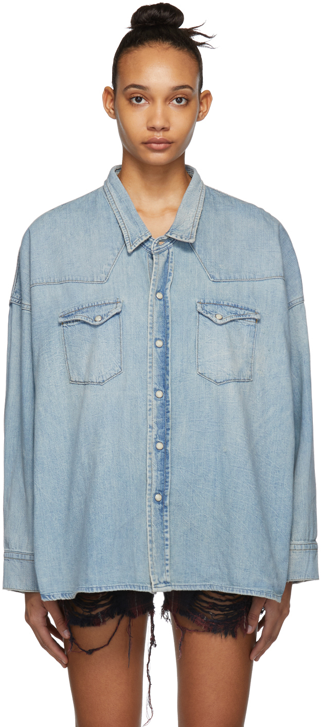 R13 T-shirts Blue Denim Oversized Western Shirt