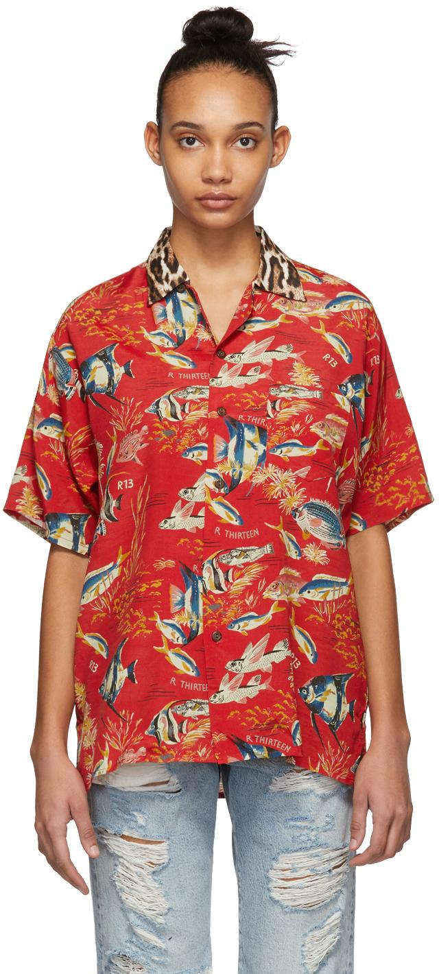 R13 T-shirts Red Fish & Leopard Hawaiian Shirt