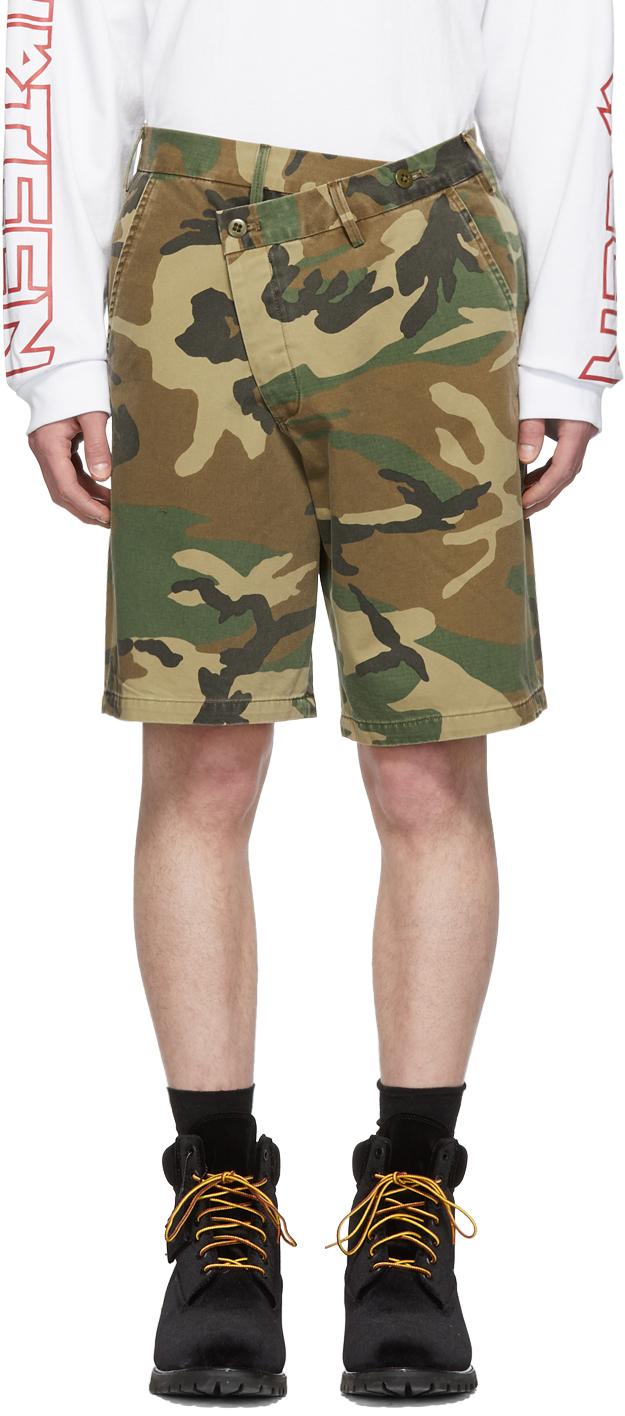 R13 Shorts Brown Camo Crossover Shorts