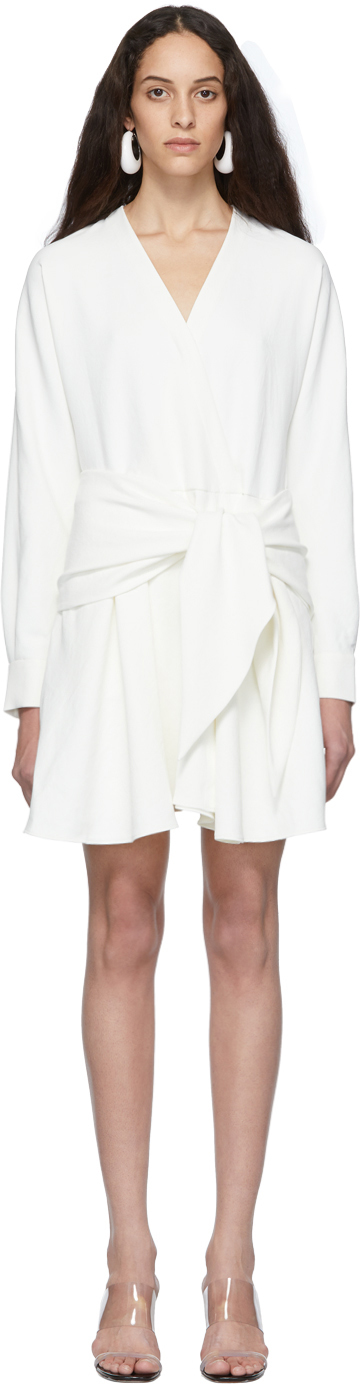 Tibi Dresses White Chalky Drape Short Wrap Dress