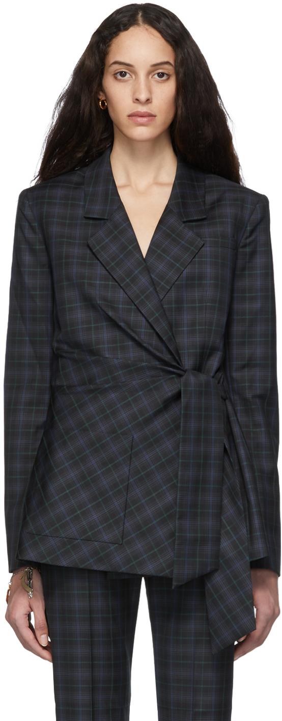 Tibi Blazers Black Plaid Marvel Wrap Blazer