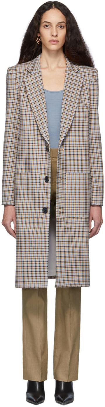 Tibi Coats Tan & Blue Plaid Zion Lab Coat