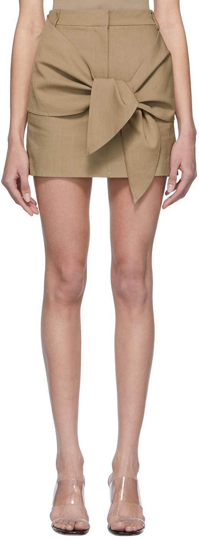 Tibi Shorts Brown Linen & Viscose Removable Tie Miniskirt