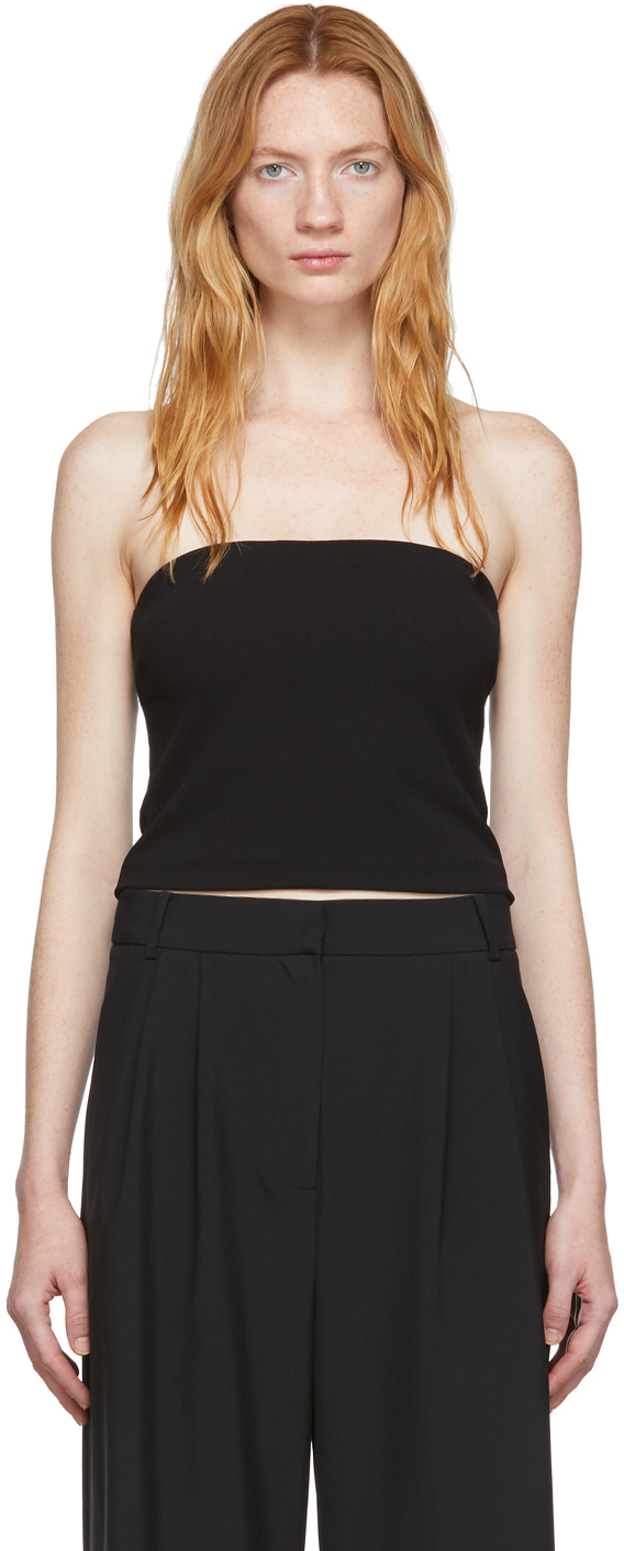 Tibi Tops Black Structured Crepe Strapless Top