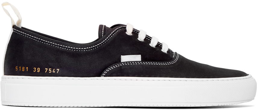Common Projects Sneakers Black Nubuck Four Hole Low Sneakers