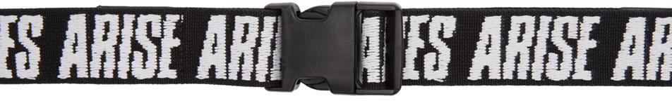 Aries Belt Black Logo Webbing Belt