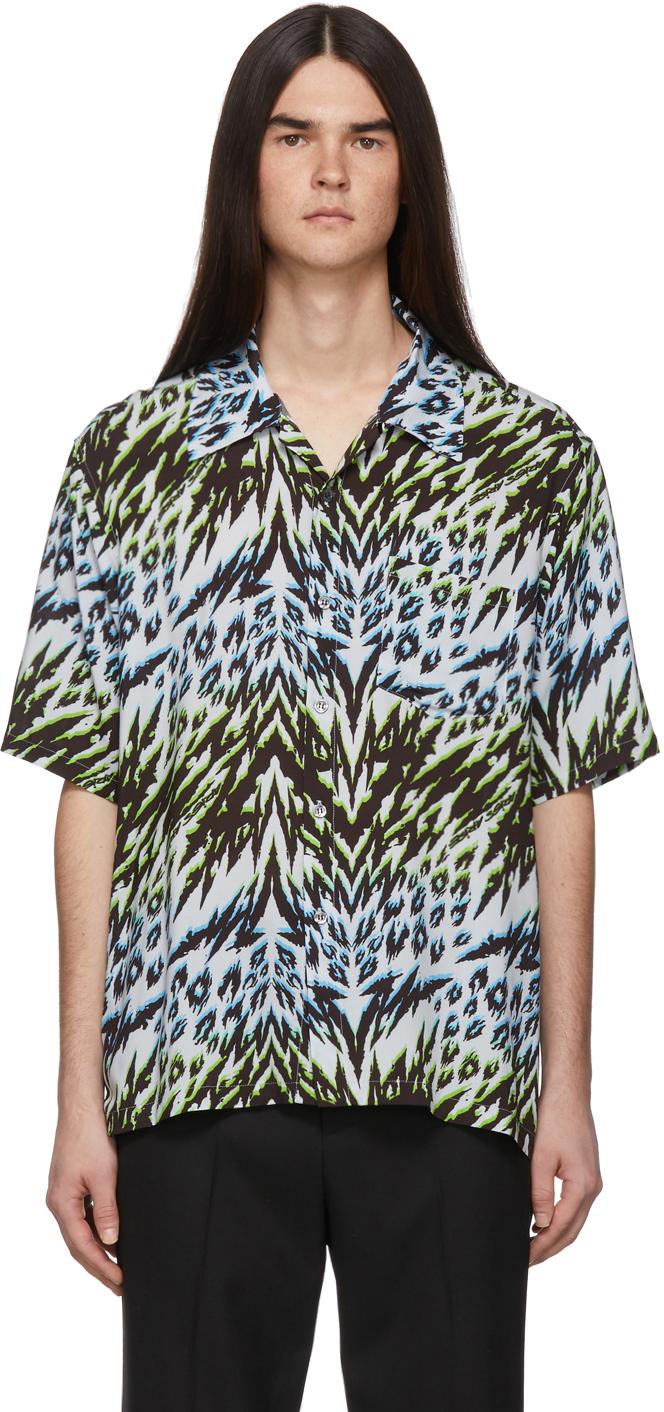 Aries T-shirts Blue & Green Leopard Animal Hawaiian Shirt