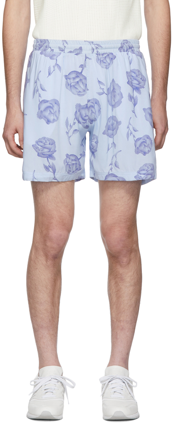 Aries Shorts Blue & Purple Rose Board Shorts