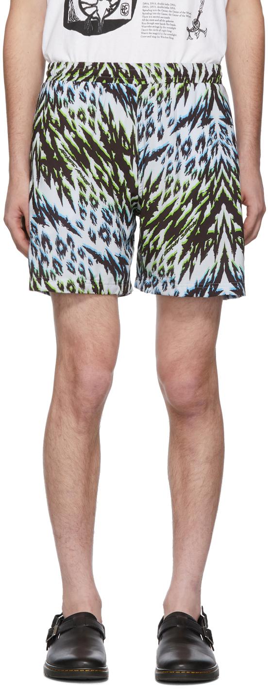 Aries Shorts Green & Blue Leopard Animal Board Shorts