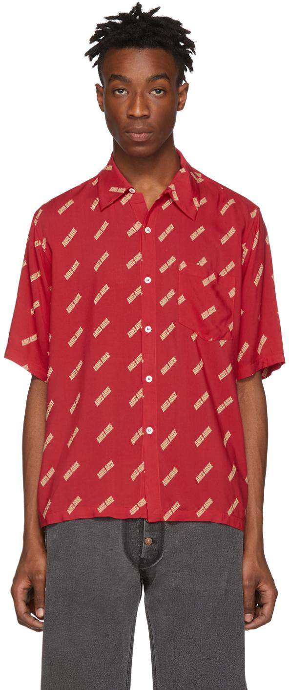 Aries T-shirts Red Logo Bowling Shirt