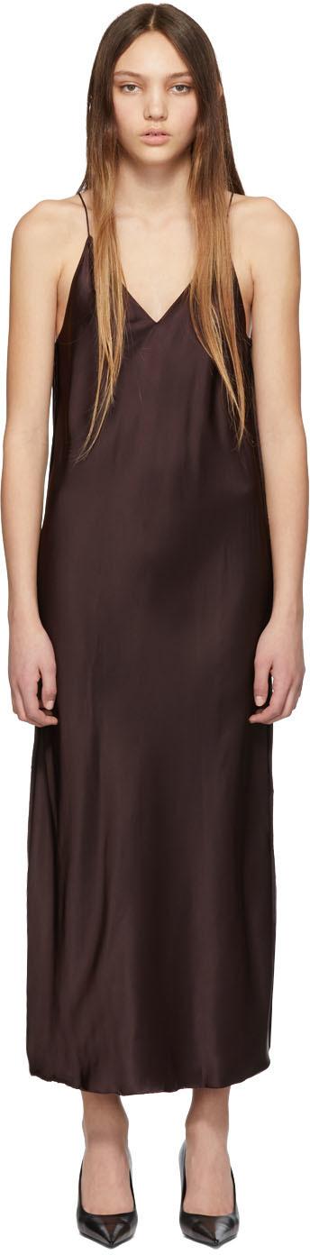 Helmut Lang Dresses Brown Raw Detail Slip Dress