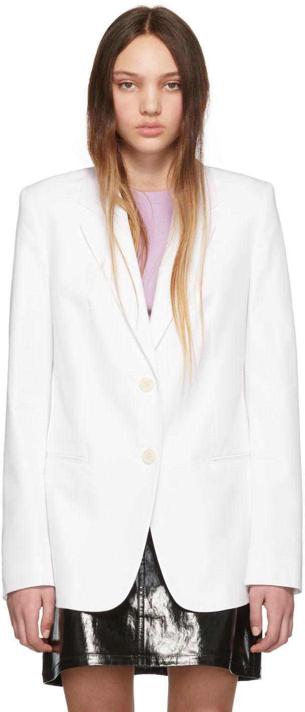 Helmut Lang Blazers White Fine Cotton Blazer