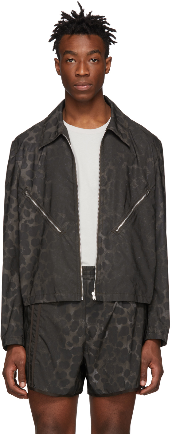 Helmut Lang Jackets Brown Reflective Leopard Jacket