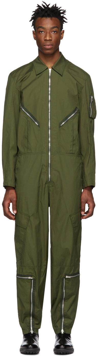 Helmut Lang Pants Green Aviator Jumpsuit