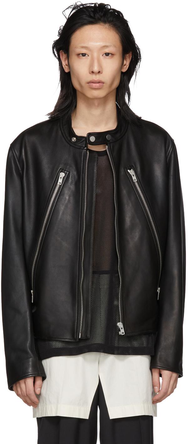 Maison Margiela Jackets Black Leather Classic Five-Zip Jacket