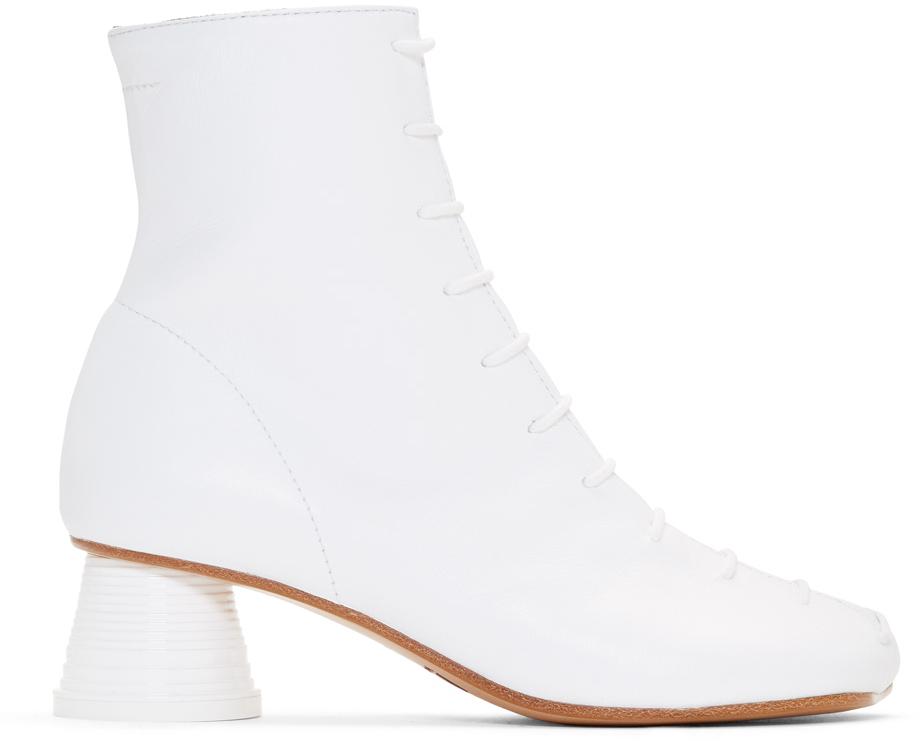 Mm6 Maison Margiela Boots White Lace Up Ankle Boots