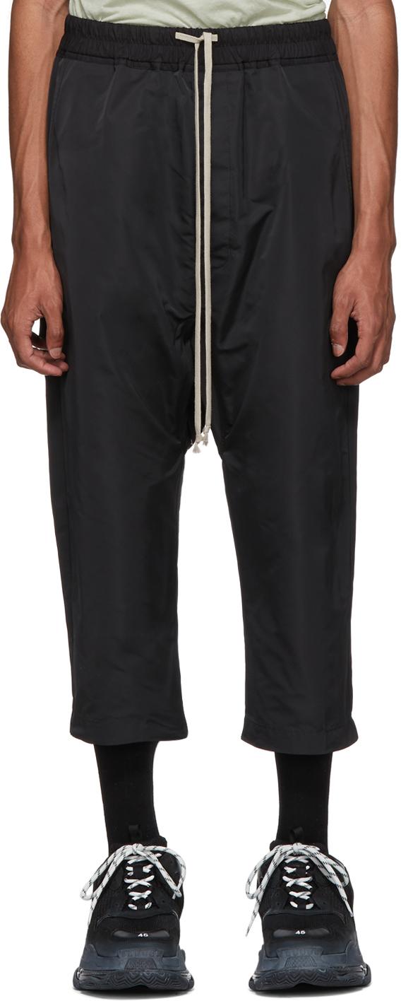 Rick Owens Rings Black Satin Drawstring Cropped Trousers