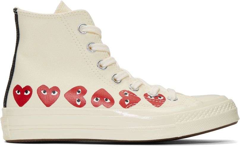 Comme Des Garçons Play Sneakers Off-White Converse Edition Multiple Hearts Chuck 70 High Sneakers