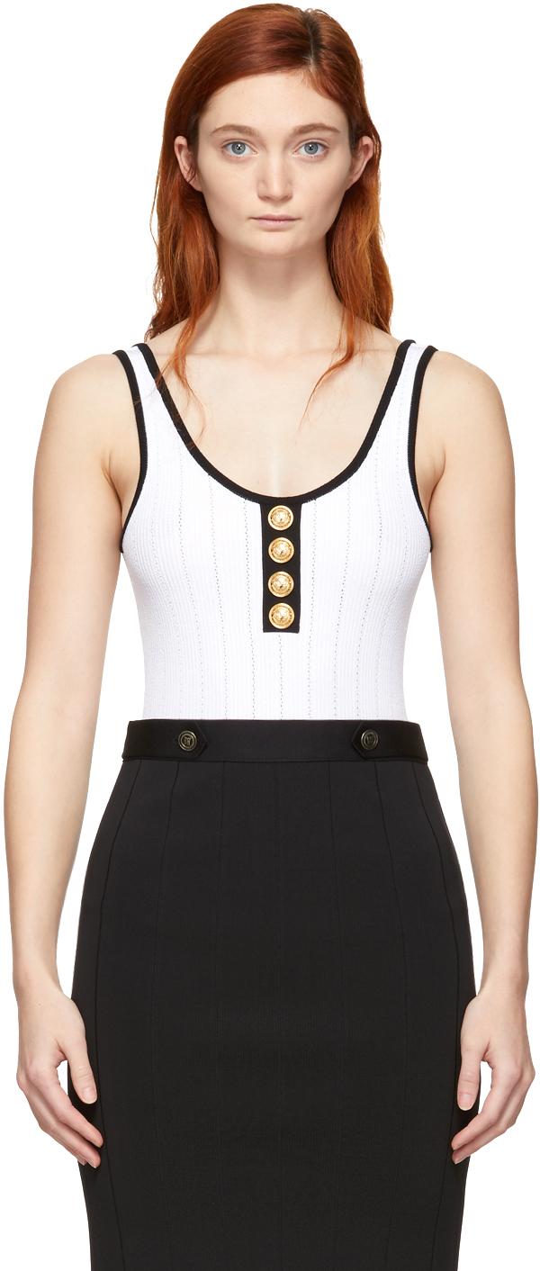 Balmain Knits White & Black Knit Button Bodysuit