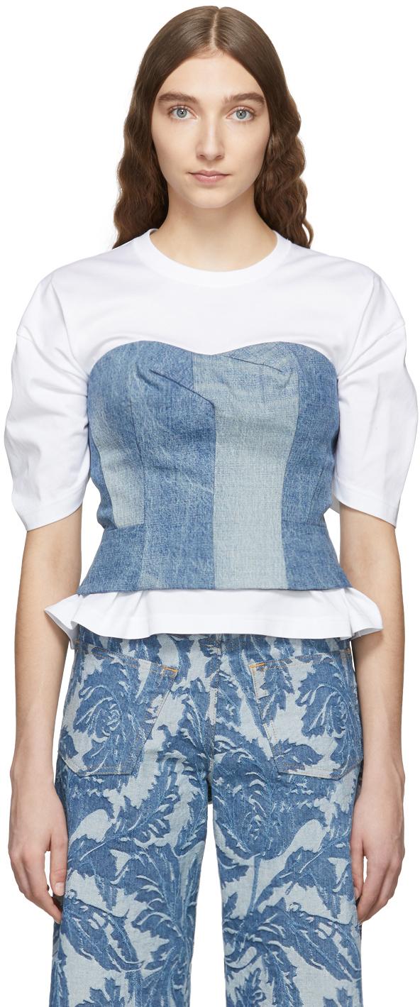Junya Watanabe T-shirts White & Indigo Denim Corset T-Shirt