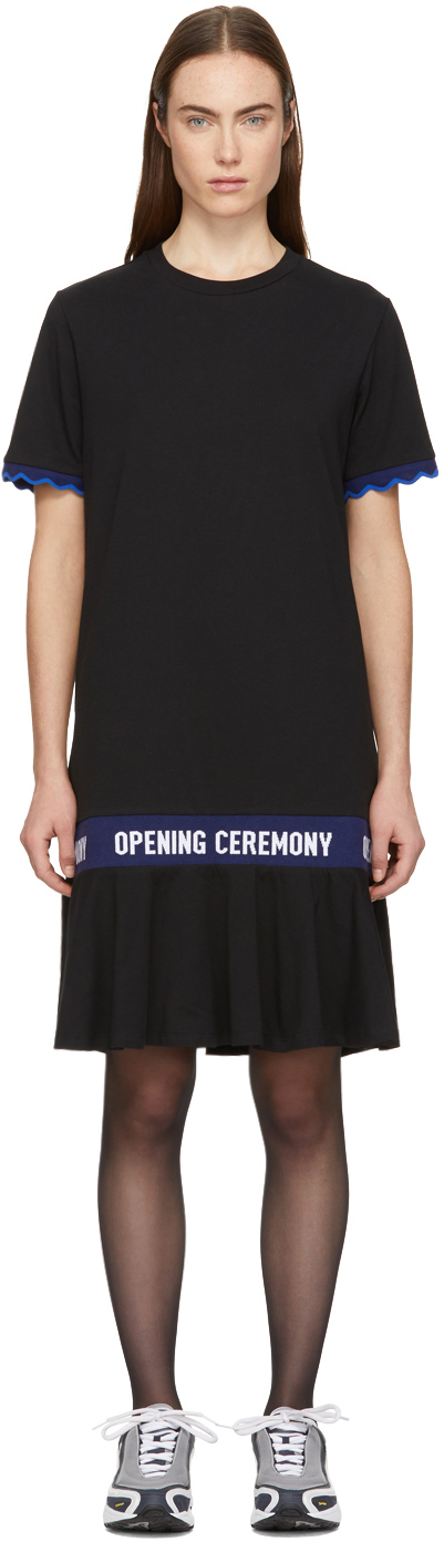 Opening Ceremony Black Scallop Elastic Logo T-Shirt Dress