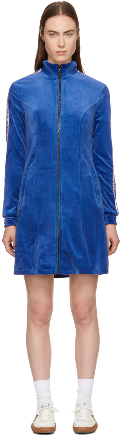 Opening Ceremony Blue Plush Velour Track Dress