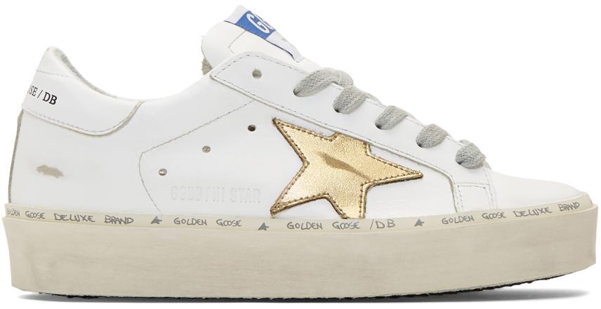 Golden Goose Sneakers White & Gold Hi Star Sneakers