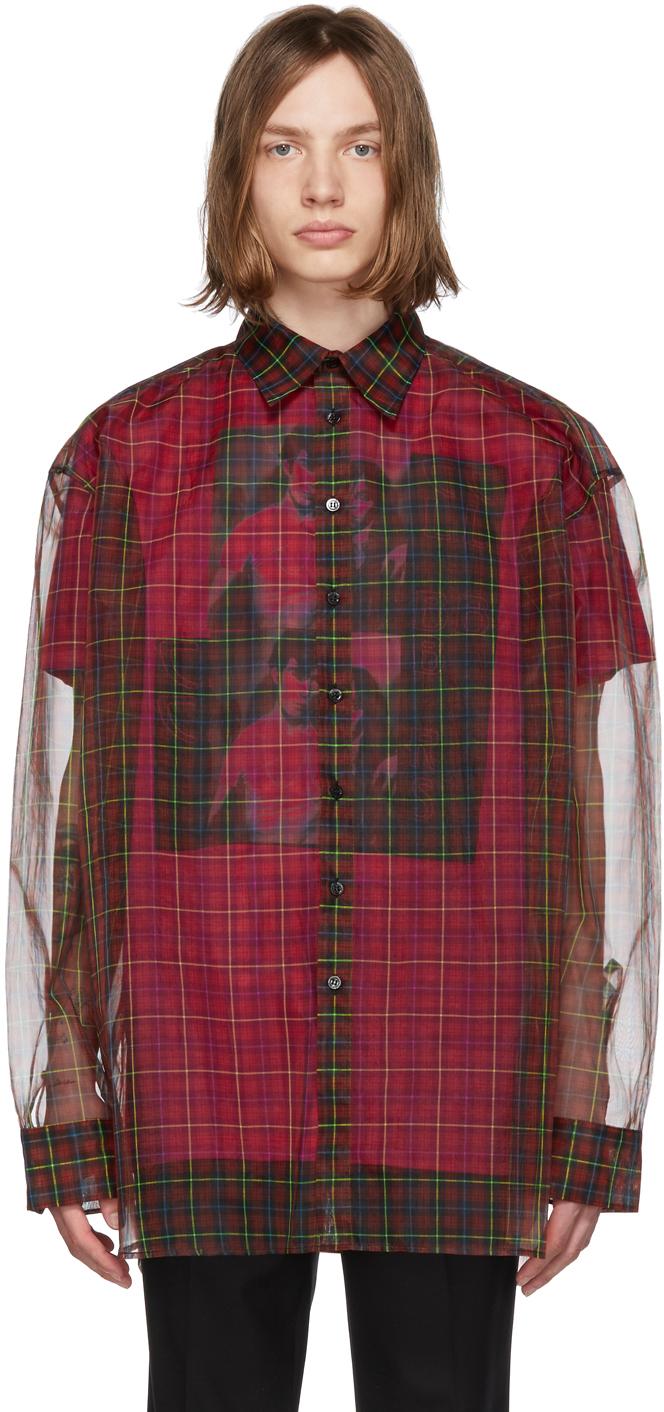 Raf Simons T-shirts Red & Pink Layered Shirt