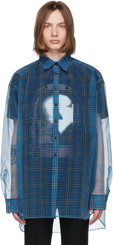 Raf Simons T-shirts Blue & Black Layered Shirt