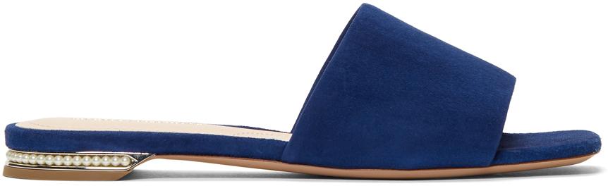 Nicholas Kirkwood Slippers Blue Suede Casati Pearl Slides