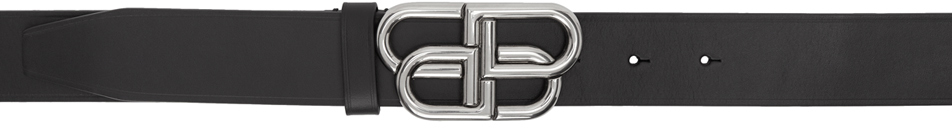 Balenciaga Belt Black & Silver BB Buckle Belt