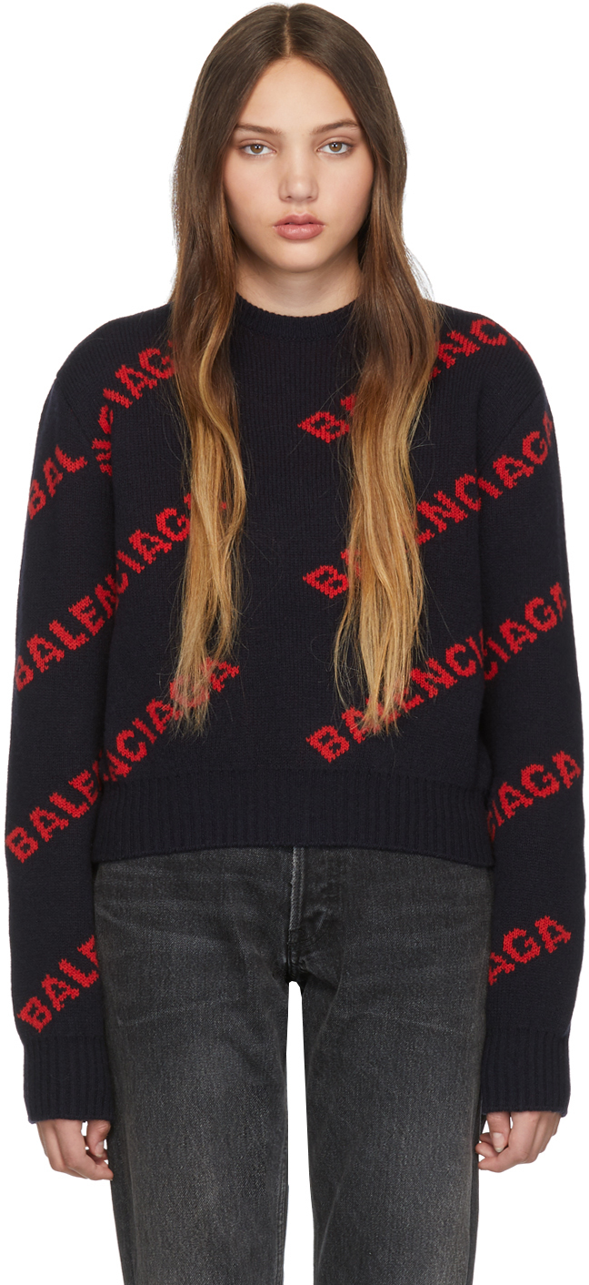 Balenciaga Sweaters Navy & Red Cropped Logo Sweater